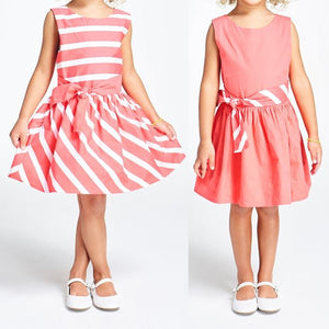 3-12Y Girls Reversible Dress with Belt G20127C