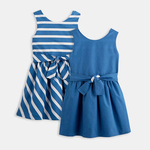 3-12Y Girls Reversible Dress with Belt G20127D