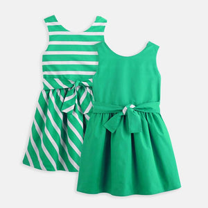 3-12Y Girls Reversible Dress with Belt G20127M