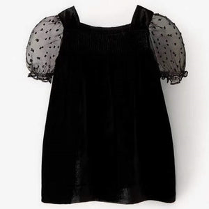 2-6Y Girls Black Puffy Sleeves Dress G20132I
