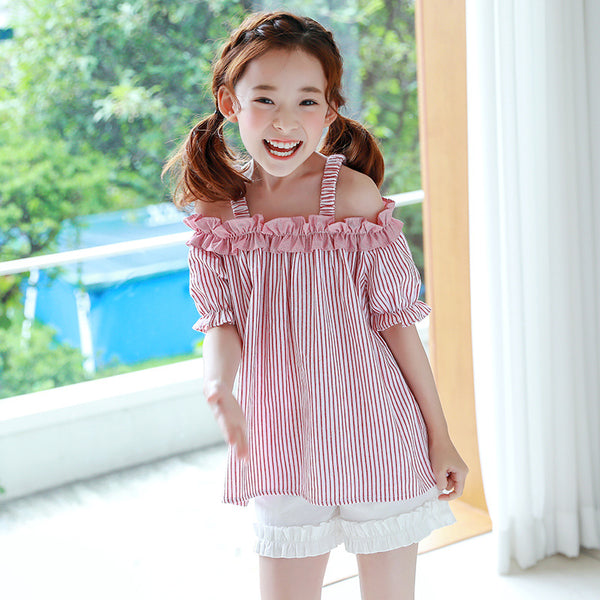 3-15Y Girls Off Shoulder Red Stripes Blouse G21042B (Mother sizes available)