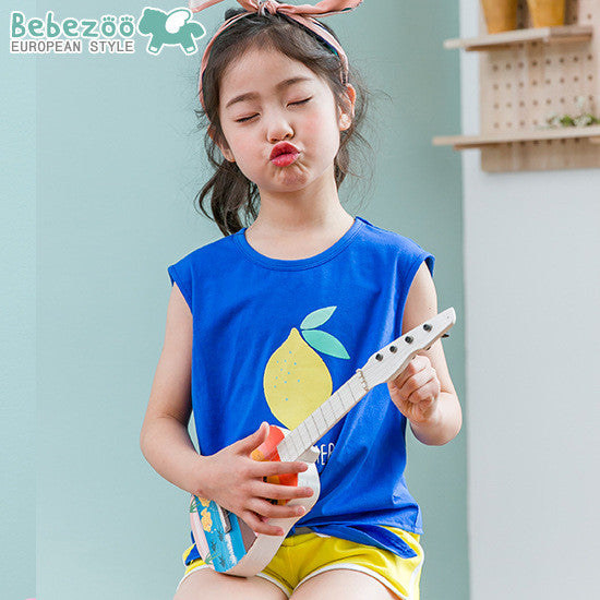 3-10Y Girls Bebezoo/BARPUPAPA Blue Lemon Shirt G242J