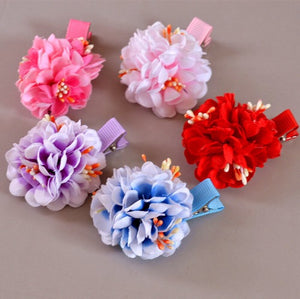 Handmade Kids Cherry Blossom Flower Hairclip 1pc each A323G882D / A323G882E / A323G882F / A323G882G