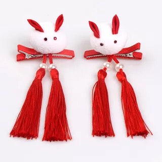 100% Handmade Kids Rabbit Tails Pair of Hairclips A323G88F