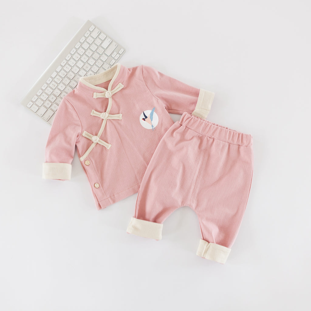 0-2Y Baby Pink Kungfu Top and Bottom 2pcs Set A400C42E