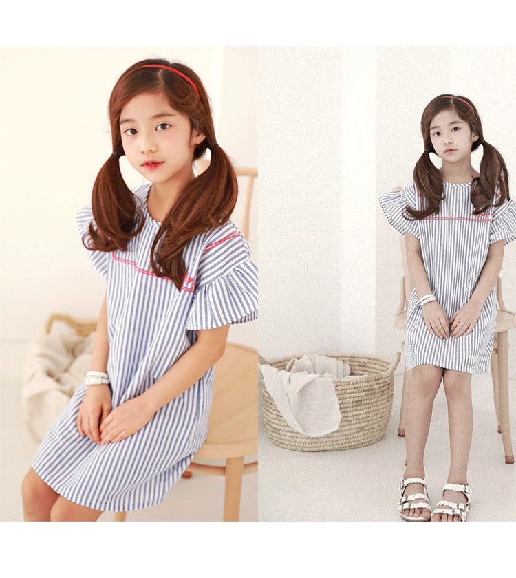 3-15Y Girls Blue Stripes Dress G21034A