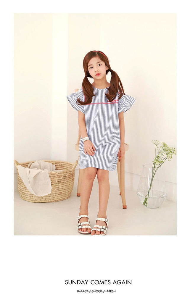 3-15Y Girls Blue Stripes Dress G21034A (Mother size available)