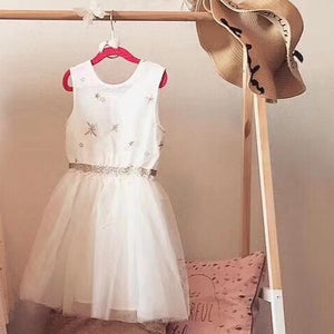 2-10Y Girls Embroidery Tulle Dress G20127F