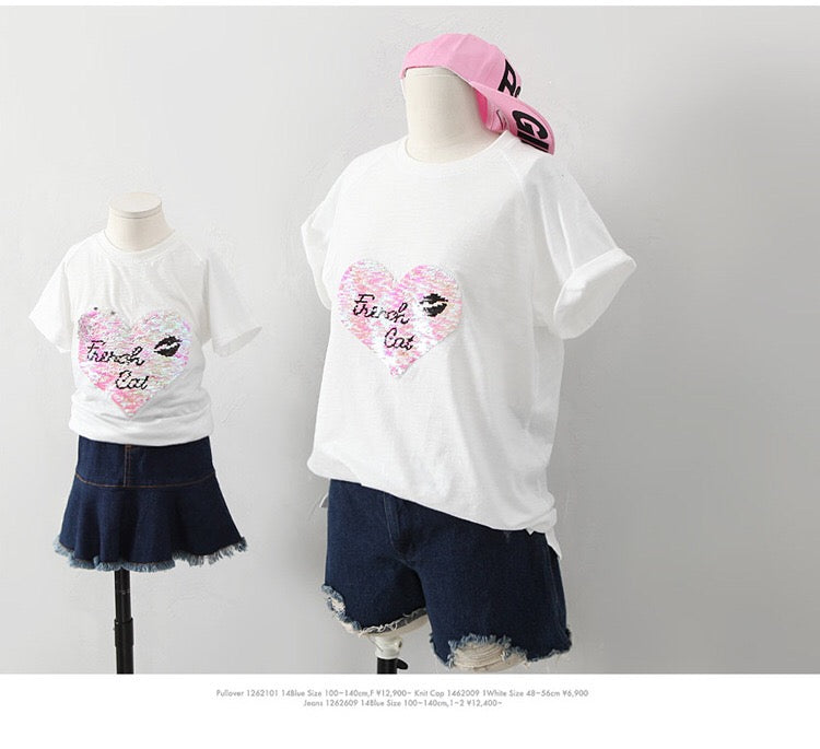 2-15Y Kids French Cat Shirt G21041H (Mother size available)
