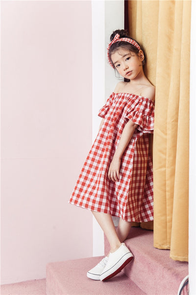 3-15Y Girls Off-Shoulder Red Checker Dress G21033F (Mother sizes available)