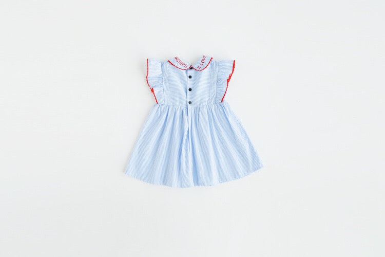 1-8Y Girls Blue Stripes Dress A20122H