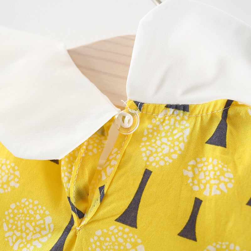 1-5Y Girls White Collar Yellow Dress A20123F