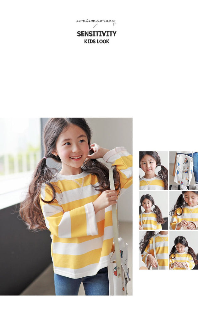 3-15Y Kids Yellow Stripes Sweater G21044B (Mother size available)