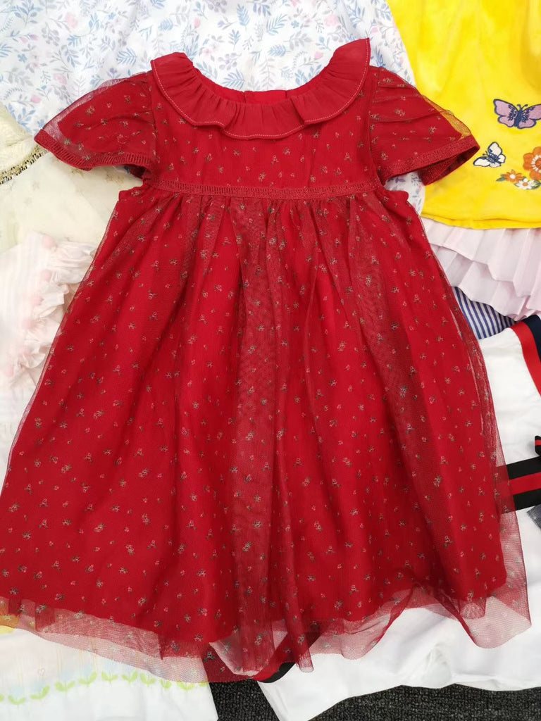 1-8Y Girls Red / Checker Party Dress G20127A / G20129F