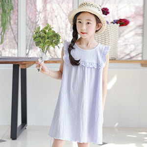 3-15Y Girls Blue Ruffles Dress G20122C