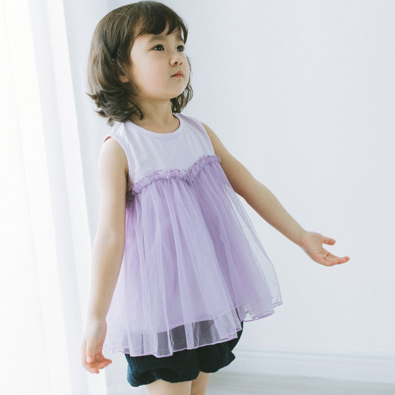 2-8Y Girls Purple Tulle Top A20124G