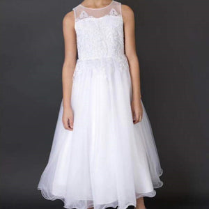 6-12Y Girls Bridal Flower Girl White Gown G20133C