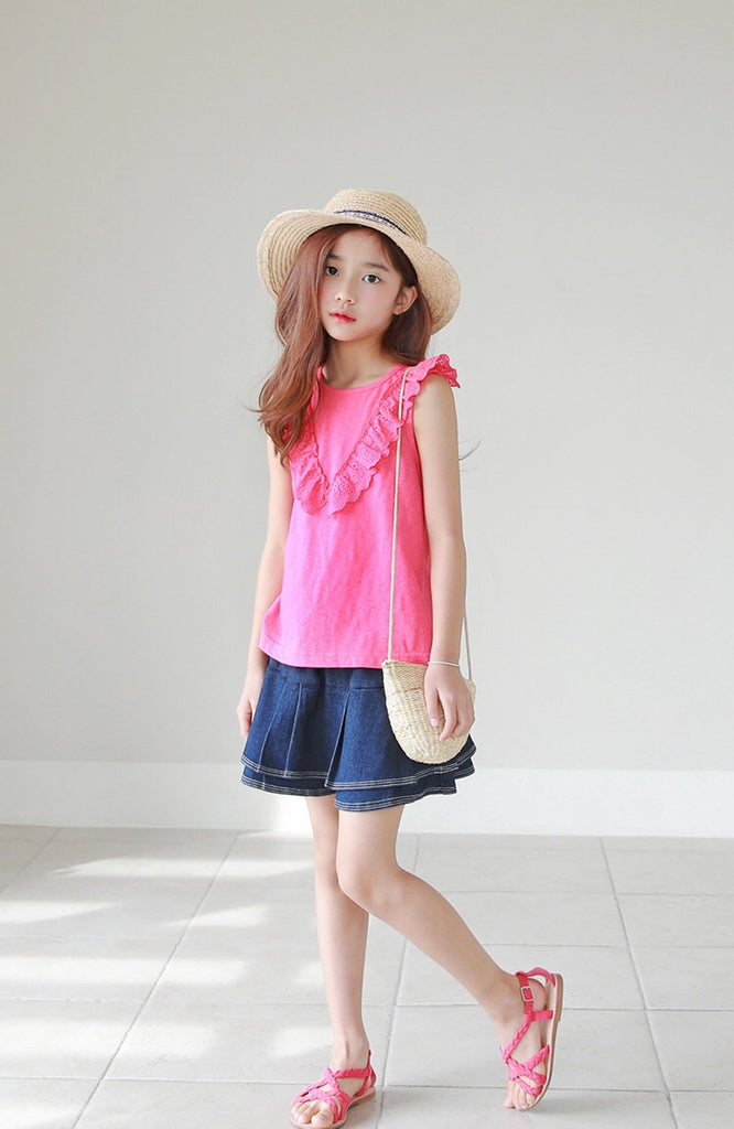 3-15Y Girls Pink Blouse G21041J (Mother size available)
