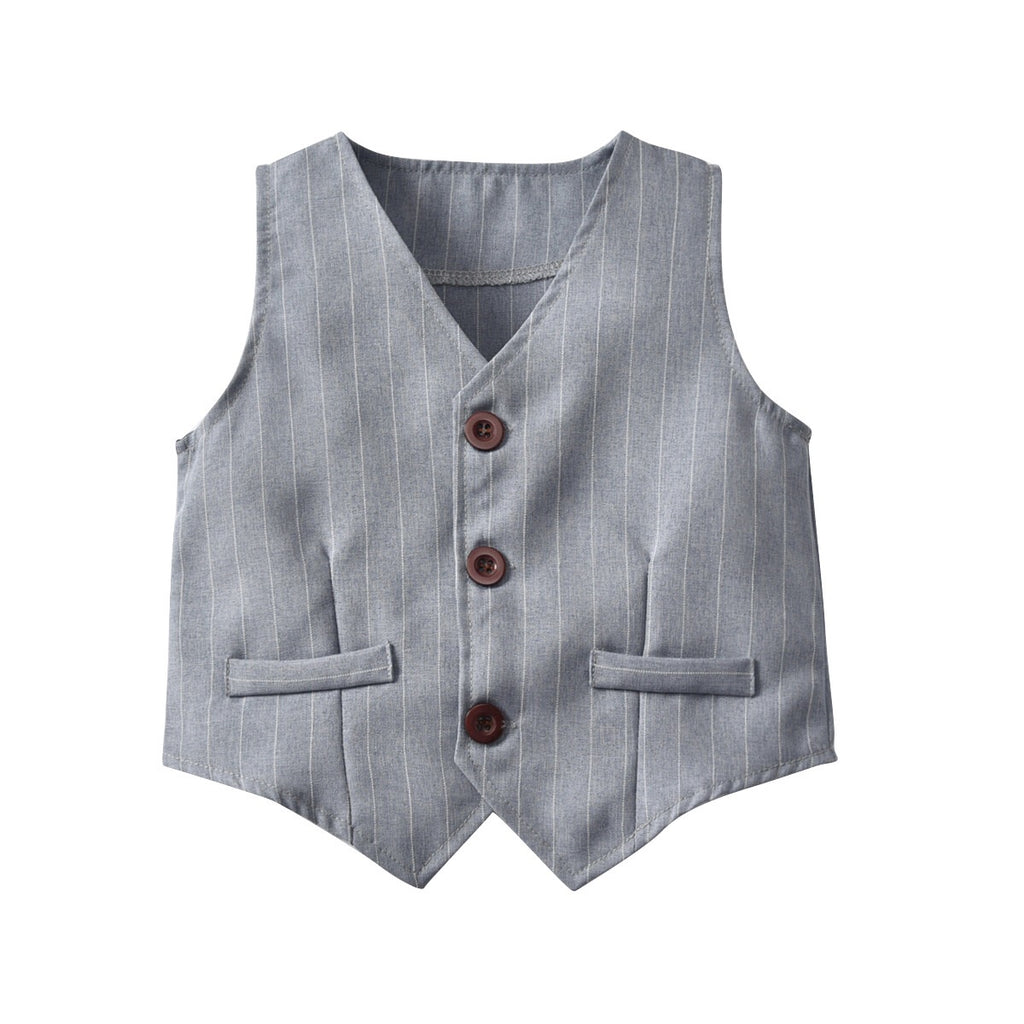 2-8Y Top and Bottom with Vest and Bowtie 4-Piece Set B10211F