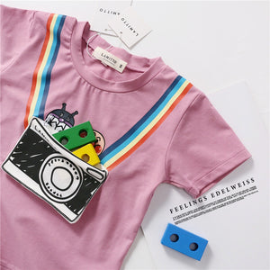 1-7Y Kids Camera Pouch Short-Sleeves Shirts A10425I