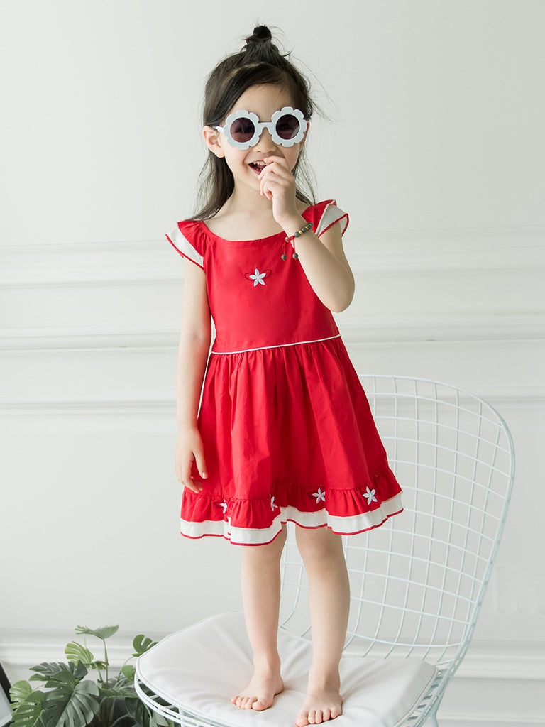 1-6Y Girls Red Embroidery Dress and Bloomer 2pcs Set G20125A