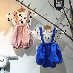 1-6Y Girls Suspender Bubble Shorts A20411N