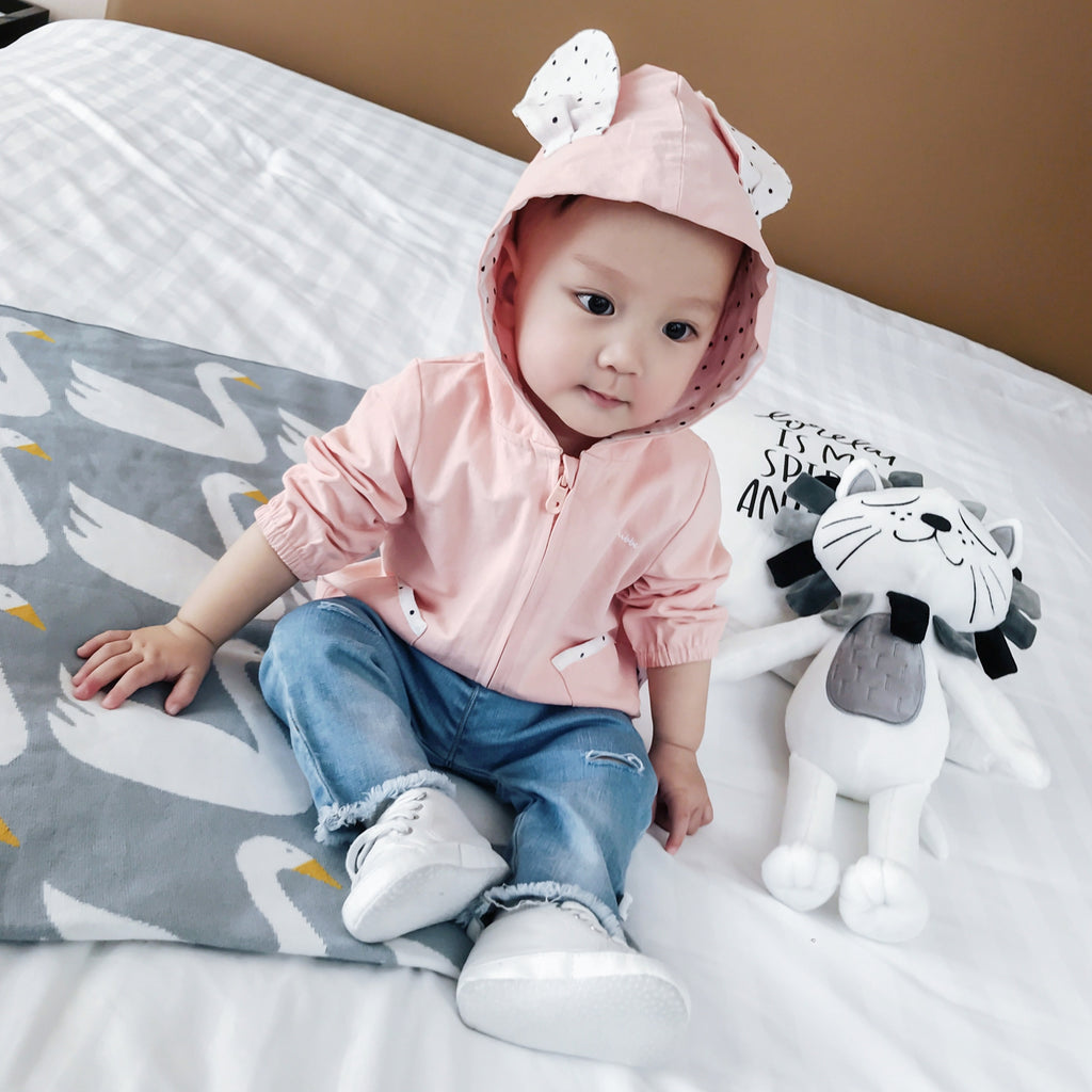 0-2Y Baby Pink Bunny Zipped Hoody Jacket A4081D