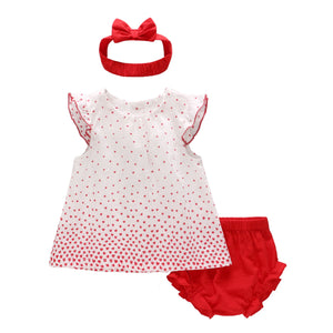 0-2Y Baby Polka Dots Dress, Bloomer and Headband 3pcs Set A40611D