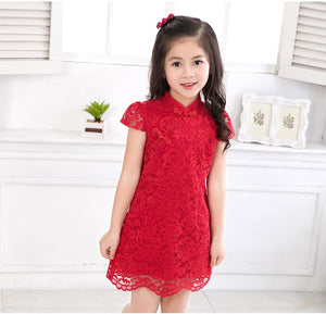 2-8Y Girls Red Lace Cheongsam Dress A200C64J