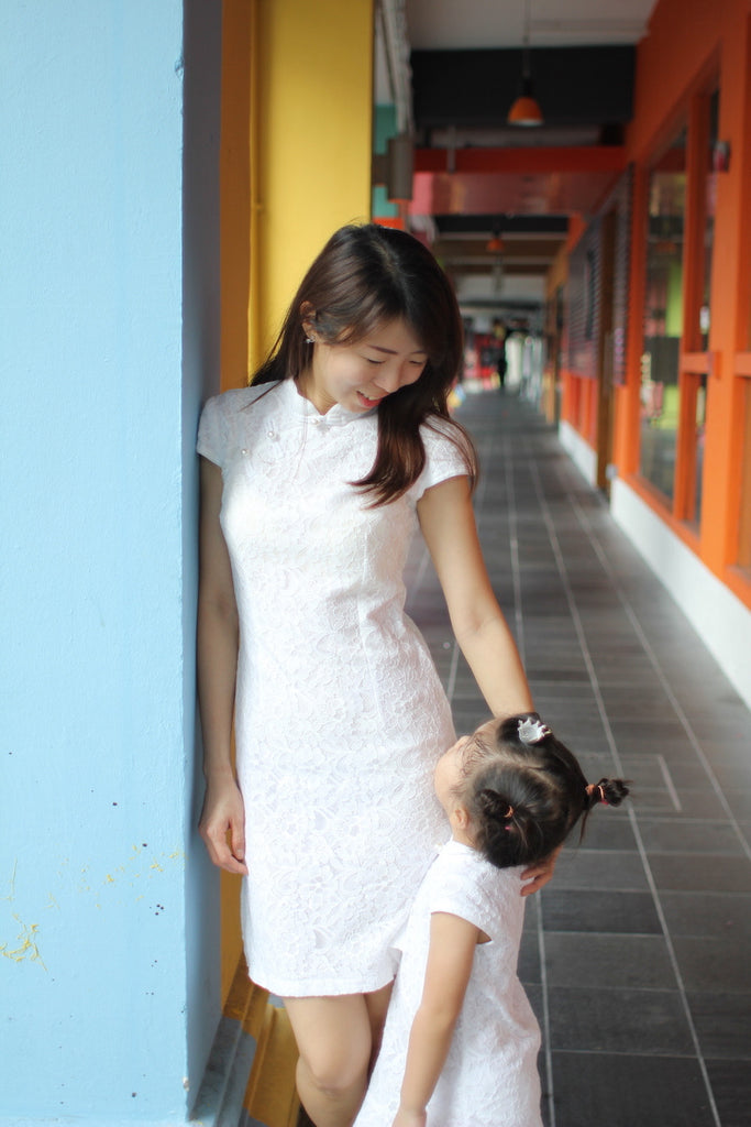 2-10Y Designer Series White Lace Cheongsam A200C61B (Mother sizes available)