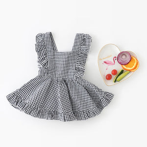 1-4Y Girls Black Checker Pinafore Dress A20124I