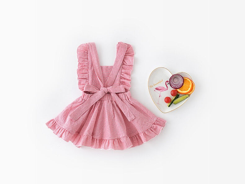 1-4Y Girls Pink Checker Pinafore Dress A20124L