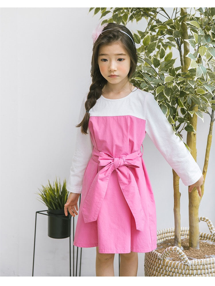 3-15Y Girls White Sleeve Pink Dress G21035A (Mother sizes available)