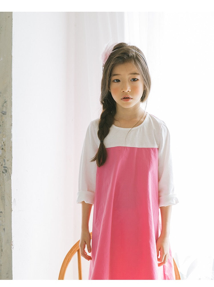3-15Y Girls White Sleeve Pink Dress G21035A