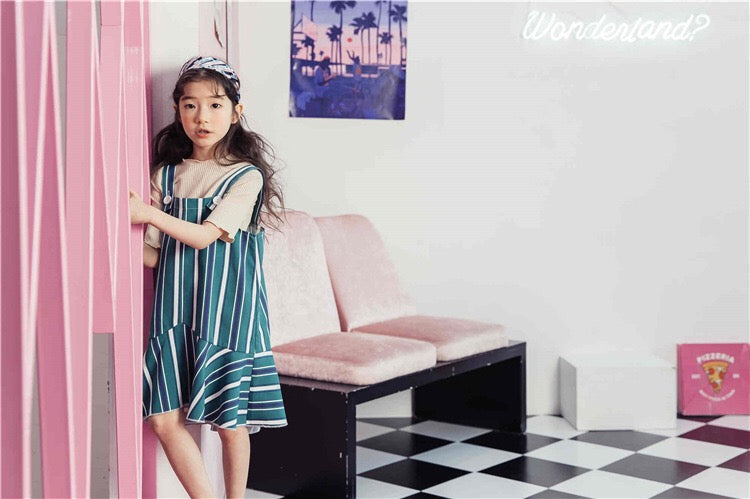 3-15Y Girls Green Stripes Hem Dress G21033J (Mother sizes available)