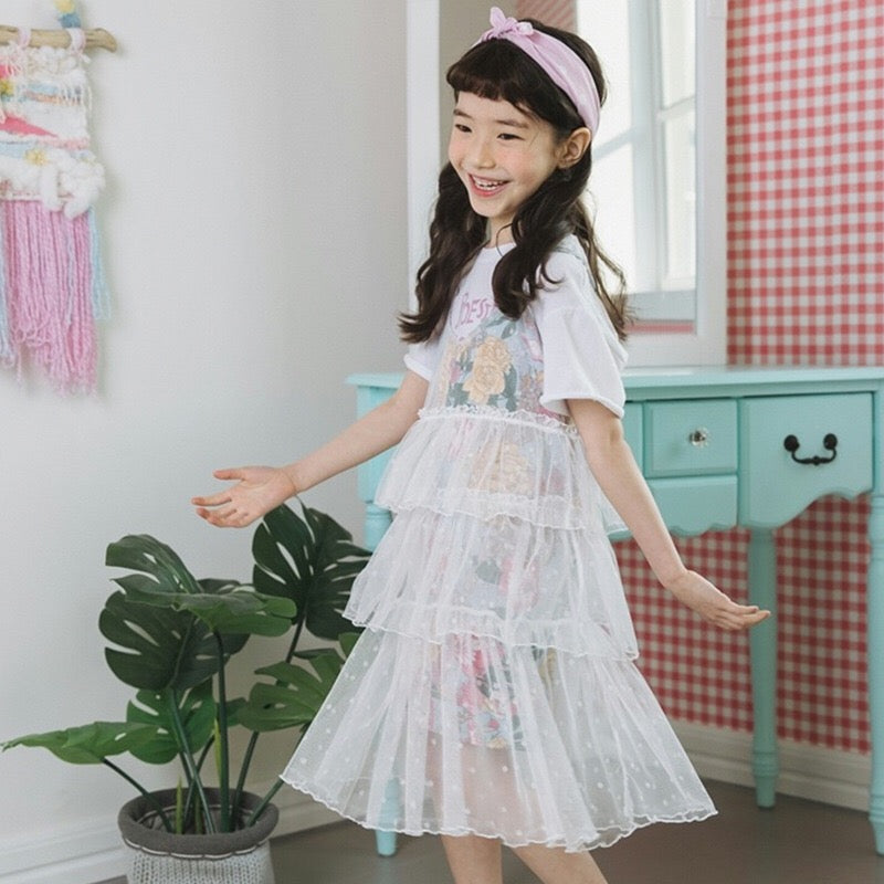 9e2ad3d66ba 3-15Y Girls Tulle Layers Dress G21033L