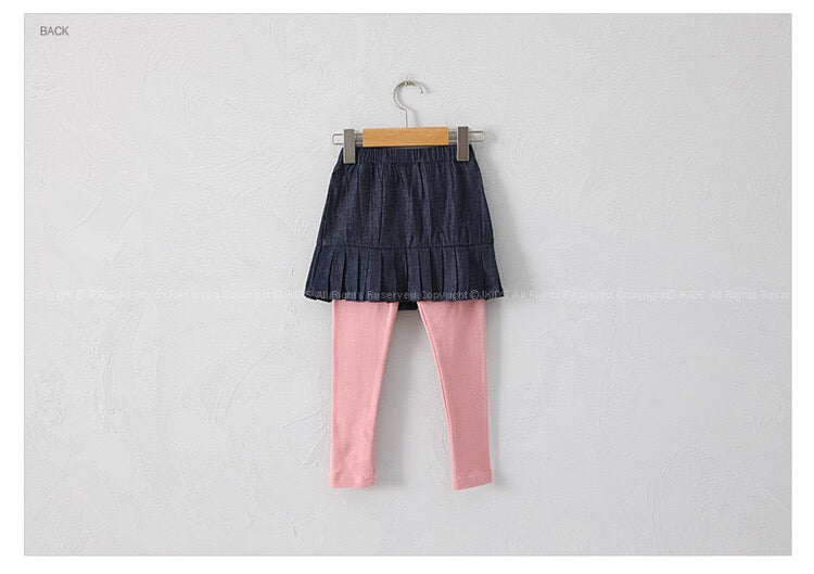 3-12Y Girls Jeans Pleated Skirts with Legging G2141D