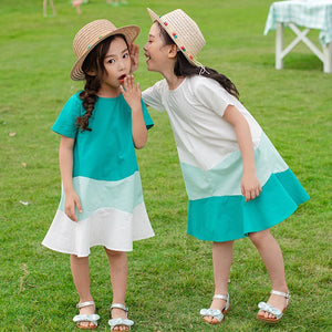 3-15Y Girls Turquoise Gradient Hem Dress G21036F / G21036G (Mother size available)