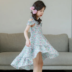 3-15Y Girls Floral Off-Shoulder Uneven Dress G21021B