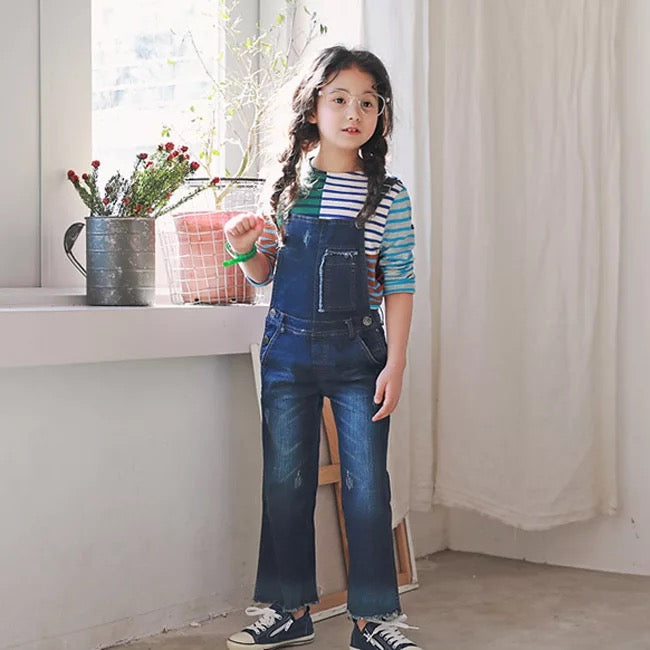 3-15Y Girls Denim Jeans Jumper Overall G224K