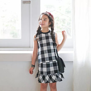 3-15Y Girls Checker Top and Bottom 2pcs Set G224L