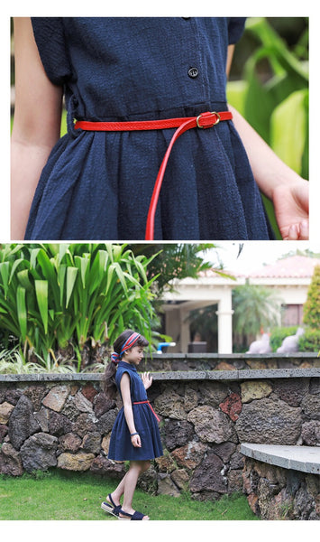 3-15Y Girls Blue Dress with Red Belt G2103H