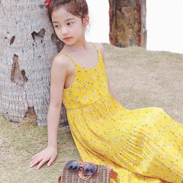 3-15Y Girls Yellow Floral Summer Pleated Dress G21034E (Mother size available)