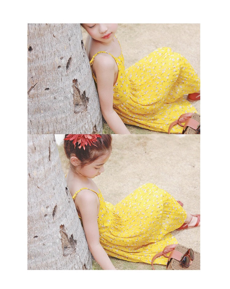 3-15Y Girls Yellow Floral Summer Pleated Dress G21034E