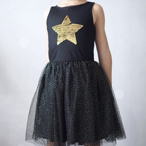 3-12Y Girls Reversible Sequins Black Tulle Dress G2092F