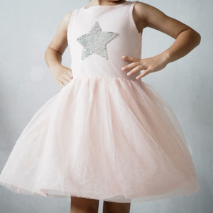 3-12Y Girls Reversible Sequins Pink Tulle Dress G2092E
