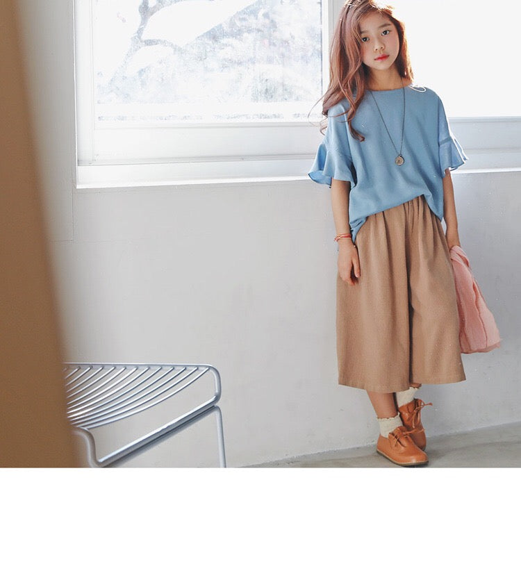 3-15Y Loose Fit Tops G2104A / Khaki Pants G224M