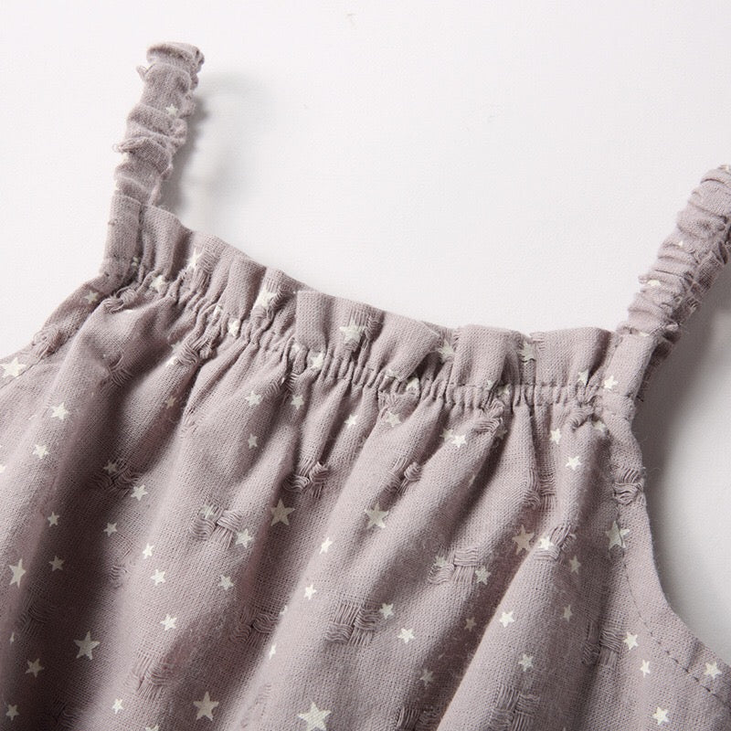 0-2Y Grey Stars Sleeveless Romper A4037A
