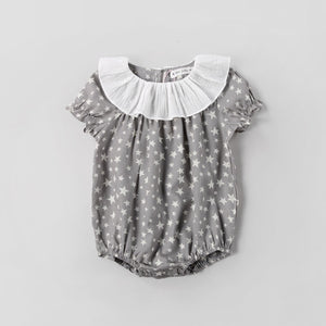 0-3Y Grey Stars Puffy Sleeves Romper A4037C