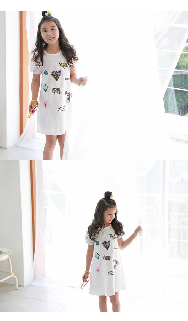 3-15Y Girls White Off-Shoulder Dress G2103J